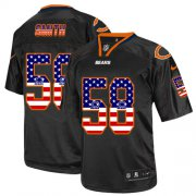 Wholesale Cheap Nike Bears #58 Roquan Smith Black Men's Stitched NFL Elite USA Flag Fashion Jersey