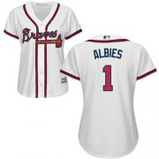 Wholesale Cheap Braves #1 Ozzie Albies White Home Women's Stitched MLB Jersey