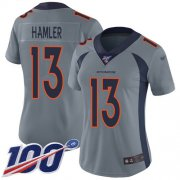 Wholesale Cheap Nike Broncos #13 KJ Hamler Gray Women's Stitched NFL Limited Inverted Legend 100th Season Jersey