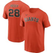 Wholesale Cheap San Francisco Giants #28 Buster Posey Nike Name & Number T-Shirt Orange