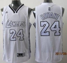 Wholesale Cheap Los Angeles Lakers #24 Kobe Bryant White With Silvery Swingman Jersey