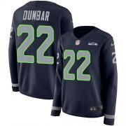 Wholesale Cheap Nike Seahawks #22 Quinton Dunbar Steel Blue Team Color Women's Stitched NFL Limited Therma Long Sleeve Jersey
