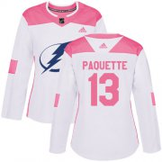 Cheap Adidas Lightning #13 Cedric Paquette White/Pink Authentic Fashion Women's Stitched NHL Jersey