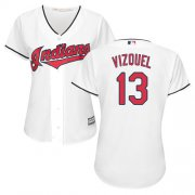 Wholesale Cheap Indians #13 Omar Vizquel White Home Women's Stitched MLB Jersey