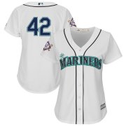 Wholesale Cheap Seattle Mariners #42 Majestic Women's 2019 Jackie Robinson Day Official Cool Base Jersey White