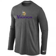 Wholesale Cheap Nike Minnesota Vikings Authentic Logo Long Sleeve T-Shirt Dark Grey