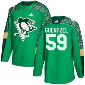 Wholesale Cheap Adidas Penguins #59 Jake Guentzel adidas Green St. Patrick\'s Day Authentic Practice Stitched NHL Jersey
