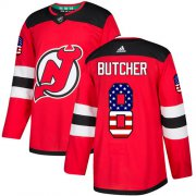 Wholesale Cheap Adidas Devils #8 Will Butcher Red Home Authentic USA Flag Stitched Youth NHL Jersey