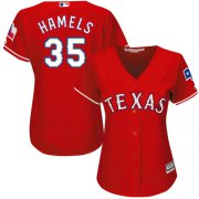 Wholesale Cheap Rangers #35 Cole Hamels Red Alternate Women's Stitched MLB Jersey