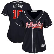 Wholesale Cheap Braves #16 Brian McCann Navy Blue Alternate Women's Stitched MLB Jersey