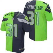 Wholesale Cheap Nike Seahawks #31 Kam Chancellor Steel Blue/Green Men's Stitched NFL Elite Split Jersey