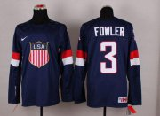 Wholesale Cheap 2014 Olympic Team USA #3 Cam Fowler Navy Blue Stitched NHL Jersey
