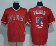 Wholesale Cheap Angels of Anaheim #5 Albert Pujols Red USA Flag Fashion Stitched MLB Jersey