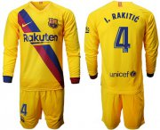 Wholesale Cheap Barcelona #4 I.Rakitic Away Long Sleeves Soccer Club Jersey