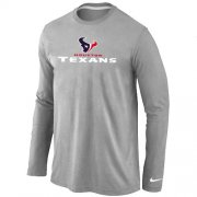 Wholesale Cheap Nike Houston Texans Authentic Logo Long Sleeve T-Shirt Grey