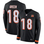 Wholesale Cheap Nike Bengals #18 A.J. Green Black Team Color Men's Stitched NFL Limited Therma Long Sleeve Jersey