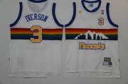 Wholesale Cheap Men's Denver Nuggets #3 Allen Iverson White Rainbow Hardwood Classics Soul Swingman Throwback Jersey