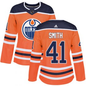 Wholesale Cheap Adidas Oilers #41 Mike Smith Orange Home Authentic Women\'s Stitched NHL Jersey