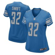 Wholesale Cheap Nike Lions #32 D'Andre Swift Light Blue Team Color Women's Stitched NFL Elite Jersey