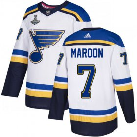 Wholesale Cheap Adidas Blues #7 Patrick Maroon White Road Authentic 2019 Stanley Cup Champions Stitched NHL Jersey