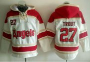 Wholesale Cheap Angels of Anaheim #27 Mike Trout White Sawyer Hooded Sweatshirt MLB Hoodie