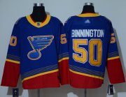 Wholesale Cheap Adidas Blues #50 Jordan Binnington Blue/Red Authentic 2019 Heritage Stitched NHL Jersey