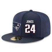 Wholesale Cheap New England Patriots #24 Cyrus Jones Snapback Cap NFL Player Navy Blue with White Number Stitched Hat