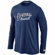 Wholesale Cheap Milwaukee Brewers Long Sleeve MLB T-Shirt Dark Blue