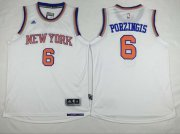 Wholesale Cheap Men's New York Knicks #6 Kristaps Porzingis Revolution 30 Swingman 2014 New White Jersey
