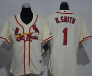Wholesale Cheap Cardinals #1 Ozzie Smith Cream Alternate Women's Stitched MLB Jersey
