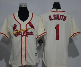 Wholesale Cheap Cardinals #1 Ozzie Smith Cream Alternate Women\'s Stitched MLB Jersey