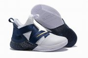 Wholesale Cheap Nike Lebron James Soldier 12 Shoes Dark Blue White Gold