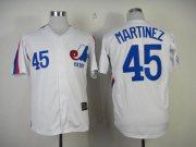 Wholesale Cheap Mitchell And Ness Expos #45 Pedro Martinez White Throwback Stitched MLB Jersey