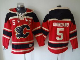 Wholesale Flames #5 Mark Giordano Red Sawyer Hooded Sweatshirt Stitched NHL Jersey