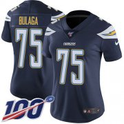 Wholesale Cheap Nike Chargers #75 Bryan Bulaga Navy Blue Team Color Women's Stitched NFL 100th Season Vapor Untouchable Limited Jersey