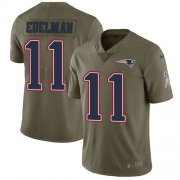 Wholesale Cheap Nike Patriots #11 Julian Edelman Olive Youth Stitched NFL Limited 2017 Salute to Service Jersey