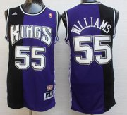 Wholesale Cheap Men's Sacramento Kings #55 Jason Williams PurpleBlack Hardwood Classics Soul Swingman Throwback Jersey