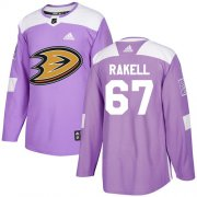 Wholesale Cheap Adidas Ducks #67 Rickard Rakell Purple Authentic Fights Cancer Stitched NHL Jersey