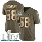 Wholesale Cheap Nike 49ers #58 Weston Richburg Olive/Gold Super Bowl LIV 2020 Youth Stitched NFL Limited 2017 Salute To Service Jersey