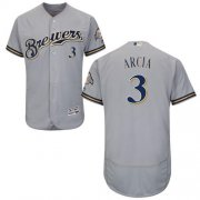 Wholesale Cheap Brewers #3 Orlando Arcia Grey Flexbase Authentic Collection Stitched MLB Jersey
