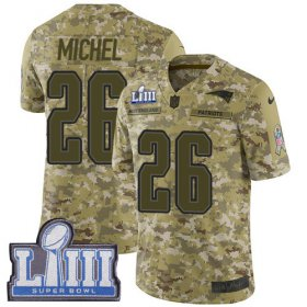 Wholesale Cheap Nike Patriots #26 Sony Michel Camo Super Bowl LIII Bound Youth Stitched NFL Limited 2018 Salute to Service Jersey