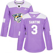 Wholesale Cheap Adidas Predators #3 Steven Santini Purple Authentic Fights Cancer Women's Stitched NHL Jersey