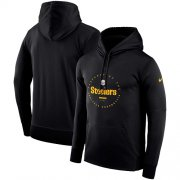Wholesale Cheap Men's Pittsburgh Steelers Nike Black Sideline Property Of Wordmark Logo Performance Pullover Hoodie