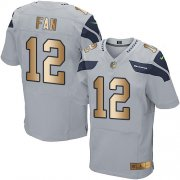 Wholesale Cheap Nike Seahawks #12 Fan Grey Alternate Men's Stitched NFL Elite Gold Jersey