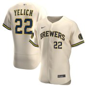 Wholesale Cheap Milwaukee Brewers #22 Christian Yelich Men's Nike Cream Alternate 2020 Authentic Player MLB Jersey