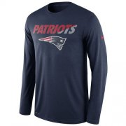 Wholesale Cheap Men's New England Patriots Nike Navy Legend Staff Practice Long Sleeves Performance T-Shirt