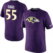Wholesale Cheap Nike Baltimore Ravens #55 Terrell Suggs Name & Number NFL T-Shirt Purple
