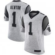 Wholesale Cheap Nike Panthers #1 Cam Newton Gray Men's Stitched NFL Limited Gridiron Gray II Jersey