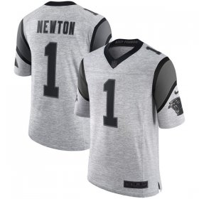 Wholesale Cheap Nike Panthers #1 Cam Newton Gray Men\'s Stitched NFL Limited Gridiron Gray II Jersey