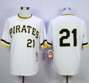 Wholesale Cheap Mitchell and Ness 1971 Pirates #21 Roberto Clemente Stitched White Throwback MLB Jersey
